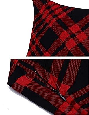 Instom Women's Summer Sleeveless Plaids Irregular Hem Casual Shirt Pockets Dress
