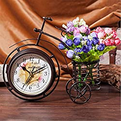 LUOLANG Creative Clock, Vintage Bicycle Bike Clock Two-Sided Classic Table Clock for Bedroom Kitchen Office Mantel Living Room Bookcase Shelf Mute Clock,A