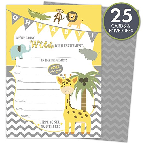 Baby Shower Invitations Jungle Safari Animal Theme Set of 25 Cards and Envelopes, Fill-In Style, Unisex for Boys or Girls. Printed on Heavy 140lb Card Stock.