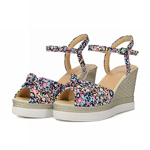 Charm Foot Mujeres Canvas Floral Peep Toe Wedges Sandalias Azul