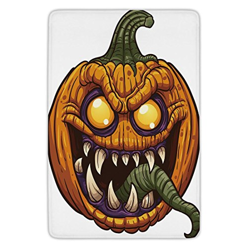 Bathroom Bath Rug Kitchen Floor Mat Carpet,Halloween,Scary Pumpkin Monster Evil Character with Fangs Aggressive Cartoon,Purple Orange Dark Green,Flannel Microfiber Non-slip Soft (Classic Scary Halloween Characters)