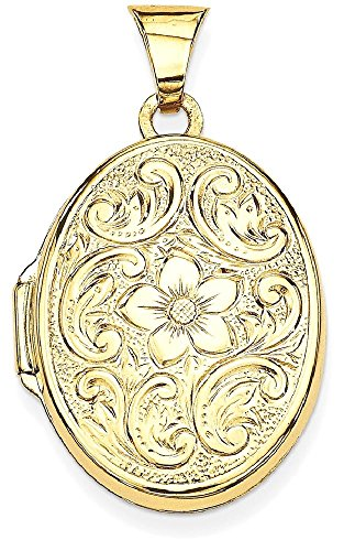 ICE CARATS 14k Yellow Gold Scrolled Floral Photo Pendant Charm Locket Chain Necklace That Holds Pictures Oval by ICE CARATS