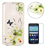 LG K7 Silicone Gel Case [with Free Screen Protector],CaseHome Crystal Clear Shock Proof Soft Durable Scratch Resistant Jelly Rubber TPU Protective Case Cover Skin Shell for LG K7 with Beautiful Colourful Pattern Design-Butterfly Daisy - more-bags