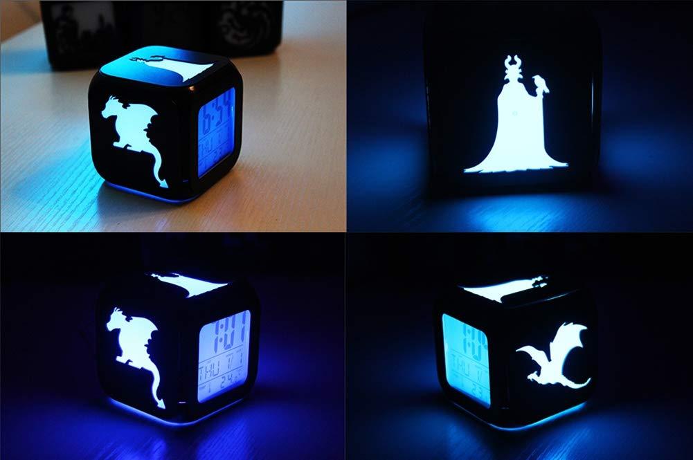 QMMCK 3D Stereo Wecker Leise LED Nachtlicht USB Aufladen Sieben Farben Wecker