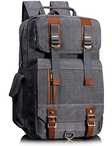 Leaper Canvas Backpack for Men Unisex Laptop Bag Travel Bag Rucksack Bag Gray