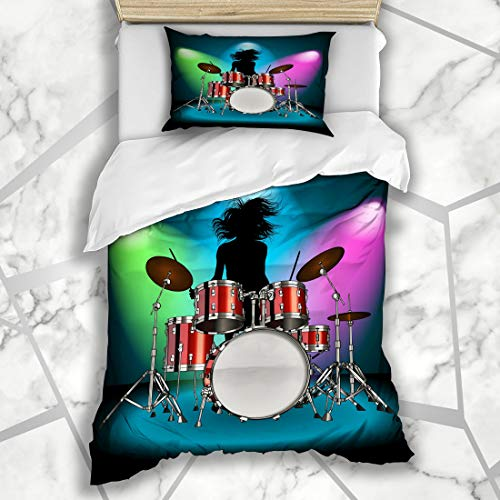Ahawoso Duvet Cover Sets Twin 68X86 Drummer Kit Drum Girl Tom Concert Rock Show Design Instrument Microfiber Bedding with 1 Pillow Shams