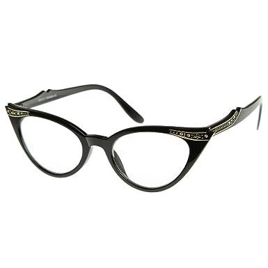 Neutral lunettes baiser ®-mod. PIN-up cristaux Cat Eye-dames VINTAGE clair Lunettes cadre optique - NOIR 3cz6l