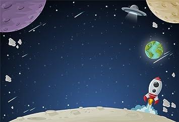 LFEEY 5 x 3 ft niños Espacio exploración Fondo Rocket Planet ...