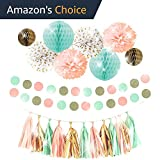 THE PERFECT PARTY Premium Peach Mint Gold Party Decorations Supplies Kit for Birthday, First Baby Girl Shower, Bachelorette, Bridal & Wedding events