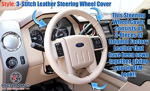 2008 Ford F250 F350 F450 F550 Lariat -Leather Wrap Steering Wheel Cover, (Ford F450 Lariat)