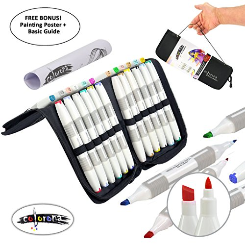 24 Alcohol Markers Professional Art Set - Double Ended Blendable Alcohol Based Ink Colors with Fine and Chisel Tip. Perfect for Artists Beginners Adults and Kids – Marker Set + Bonus Carrying Case by Colorona