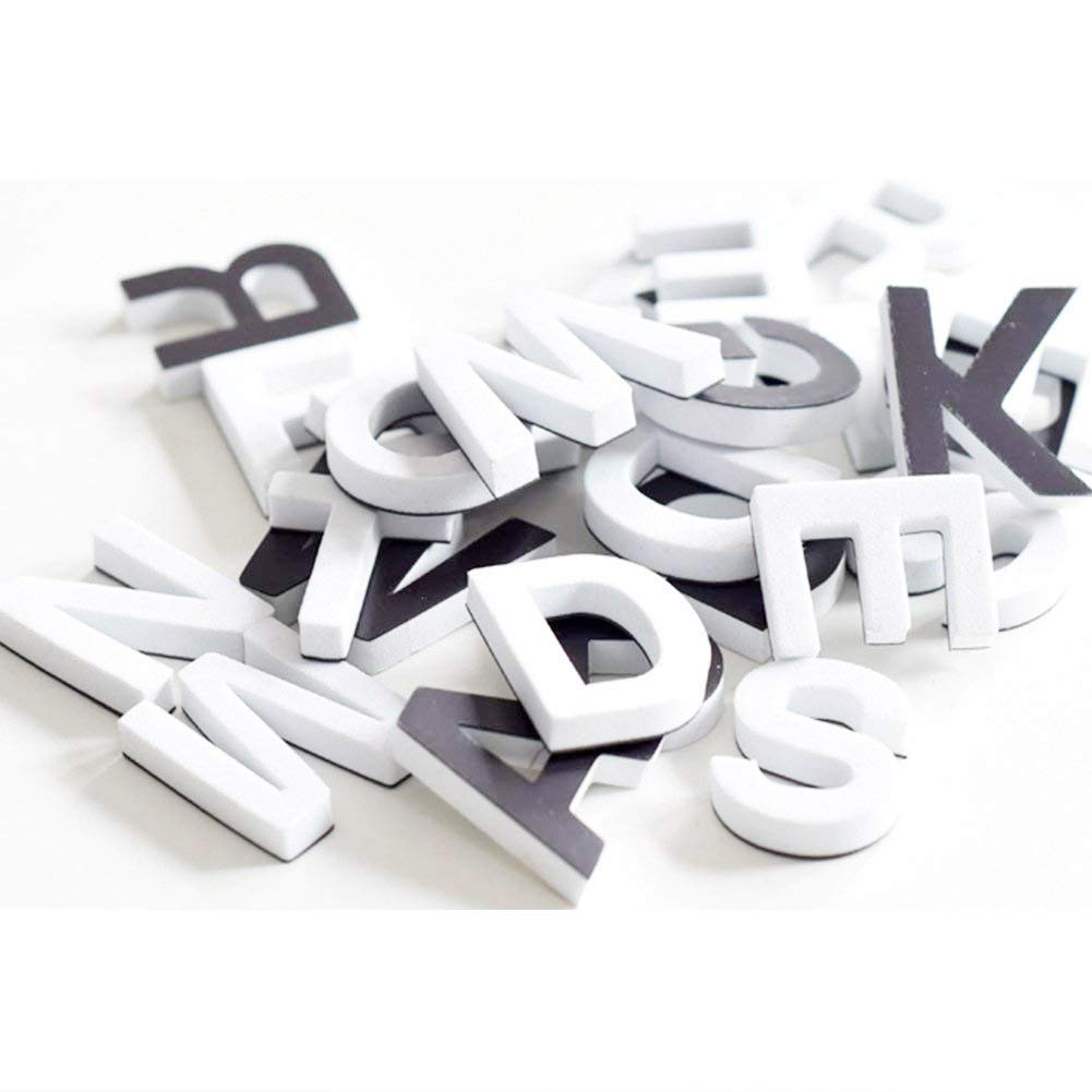 Ibnotuiy 120pcs/1 Set Nordic Style Magnetic Letters ABC Magnets Education Alphabet Letters Fridge Magnets Kids Gifts (White)