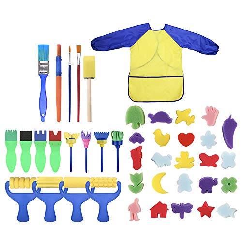 31PCS Yelow Paint Craft Foam Brushes Waterproof Apron Art Painting Smock Apron with Pocket 31Pcs Early Learning Kids Paint Set Sponge Drawing Paint Craft Brushes for Toddlers Assorted Pattern