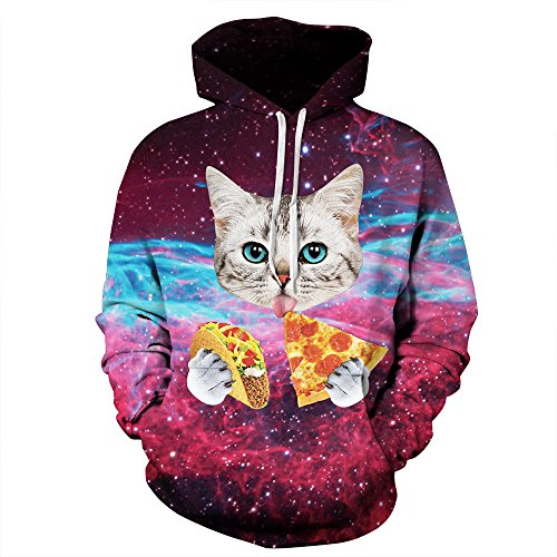 Unisex Realistic 3d Print Galaxy Pullover Hoodie Hooded Sweatshirt (Small/Medium, Cat Pizza) ()