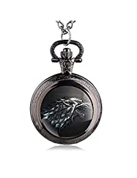 FENKOO Quartz pocket watch Game of Thrones Wolf Pocket Watch Quartz Pocket Watch Wholesale Wall Chart pocket watches ( Color : 1 )