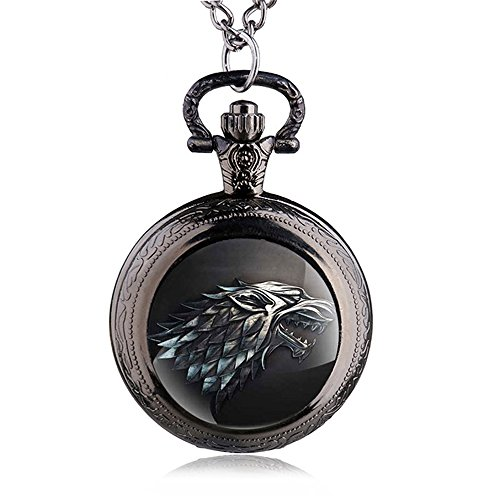 FENKOO Quartz Pocket Watch Game of Thrones Wolf Pocket Watch Quartz Pocket Watch Wholesale Wall Chart Pocket Watches (Color : 1)]()