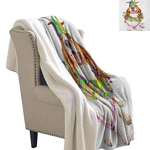 Willsd Mardi Gras Fleece Blanket Happy Smiling Basset Hound Dog Wearing a Jester Hat Neck Garland Bead Necklace Upgraded Thick Lazy Blanket Multicolor W59 x L31