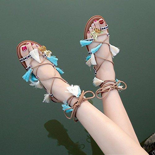 Jamicy Women Fashion Tassel Lace Up Cross Strap Flat Flip Flop Sandals sG0PMZ