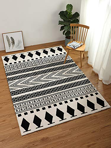 LEEVAN Moroccan Area Rug,Hand Woven Cotton Cream Chic Diamond Printed Tasels Rugs Door Mat,Indoor Floor Area Rugs Blanket Compatible Bedroom,Living Room,Children Playroom (2