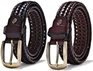 Set of 2 Mens Belts, Leather Woven Braided Belts for Men Casual Jeans Golf, Suit for Waistline 32""