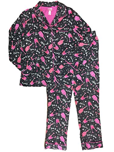 Womens New Years Sparkle Champagne Glass Pajamas Star Holiday Flannel Sleep Set