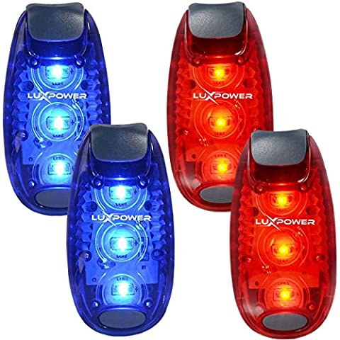 Safety Light (4 Pack) for Runners, Bikes, Dogs, Kids, Boats - Best LED Lights, Flashing/Warning, Strobe, Reflective, High Visibility, All Weather, Clip Light for Running, Walking, (Marine Battery Box Small)