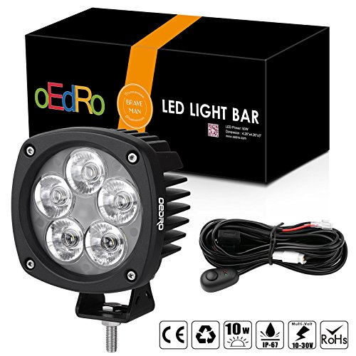 4' Round Fog Light (oEdRo 4Inch 50W Round LED Light Lamp Spot Beam OffRoad Driving Light Fog Lights Pod Waterproof for Jeep Truck SUV Boat 4WD ATV Motorcycle with 2 Leads Wiring Harness, 3 Years Warranty)