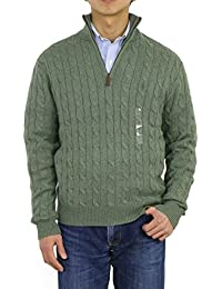 Mens Cable Knit 1/4 Zip Pullover Sweater