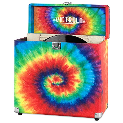 Victrola Vintage Vinyl Record Storage Carrying Case for 30+ Records, Tie Dye