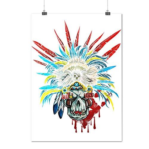 [Skull Indian Warrior Costume Matte/Glossy Poster A3 (12x17 inches) | Wellcoda] (Purge Costume Uk)