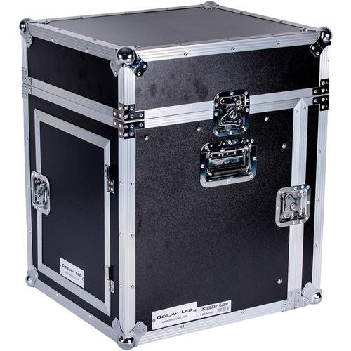 Superior Flight CASE 10U Slant Mixer 10 U Vertical Rack System with Full AC Door Complete with Removable Top & Front Covers & Rear AC Door with Protective Plate For Ease of Use DEEJAYLED TBHM10U from Deejay LED