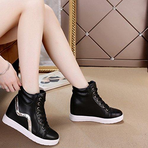 Hoxekle Mujeres High Top Zapatillas De Altura AuHombrestada De Moda Casual Sports Hidden Heel Wedge Platform Zapatos Black