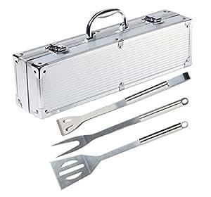 BrilliantDay 3 piezas acero inoxidable asador con estuche de aluminio - sistema de herramienta Profesional Barbacoa parrilla