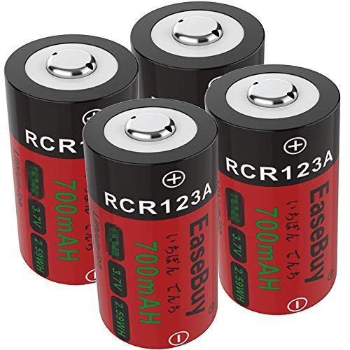 CR123A Rechargeable Batteries, EaseBuy 4-Pack 700mAH RCR123A 3.7V Lithium ion Camera Batteries Compatible with Arlo Cameras, Security System, Led Flashlight