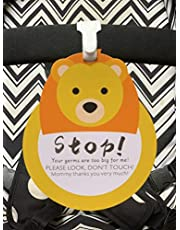 Lion-Stop,Please Look,Don't Touch Baby Sign Tag (Girl Boy Preemie Sign, Newborn, Baby Car Seat Tag, Baby Bed Tag,Stroller Tag, Carrycot Basket Tag,Baby Preemie No Touching Car Seat Sign Tag) W/Hanging Straps