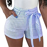 GOBLES Women's Sexy Hot Pants High Waisted Striped Casual Summer Bow Shorts Light Blue