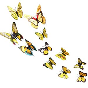 12Pcs Art Decor Wall Stickers 3D Butterfly for Family kid Room Decals Refrigerator Mural Decorations (Yellow)