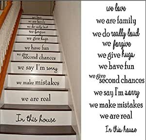 Stairs House Rule We Love We Are Family We Have Fun We Are Real in This House Wall Decal Sticker Living Room Stickers High 95cm Wide 42cm Black Color