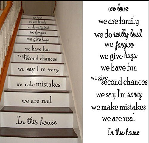 Stairs House Rule We Love We Are Family We Have Fun We Are Real in This House Wall Decal Sticker Living Room Stickers High 95cm Wide 42cm Black - Epacket Tracking Shipping