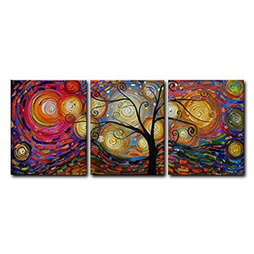 FLY SPRAY 3-Piece 100% Hand Painted Colorful Oil Paintings Wall Decor Artwork Circle Tree Panel Stretched Framed Ready Hang Landscape Modern Abstract Canvas Wall Art For Living Room Bedroom Office