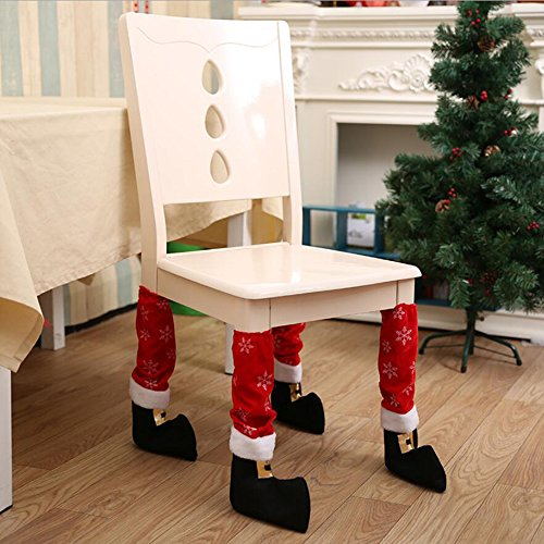 Christmas Table Leg Covers Chair Legs Covers Santa Boots Dining Room Decorations Xmas Decor, Pack of (Santa Table Cover)