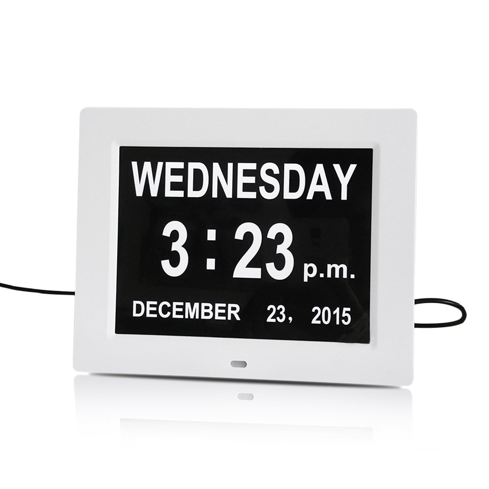 AMZTOLIFE Dementia Clock, 8-Inch Digital Day Clock Calendar & Large Letters Bedside Clock with Non-Abbreviated Day/Month - Best Gift for Memory Loss Elder. [Energy Class A+++]