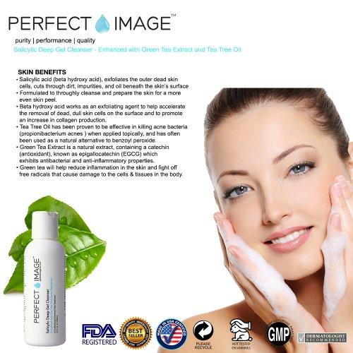 Salicylic Deep Gel Exfoliating Cleanser - Enhanced with Tea Tree Oil & Green Tea Extract (Professional) - Peel Prep