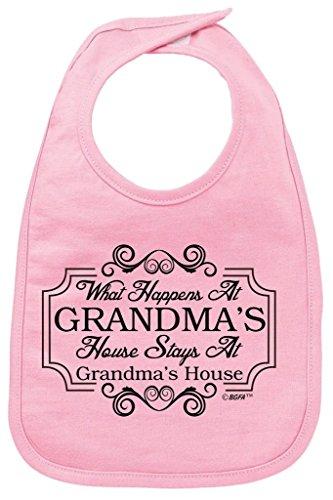 Baby Shower Gifts Grandma (Baby Shower Gift What Happens at Grandma's House Stays Baby Bib Pink)