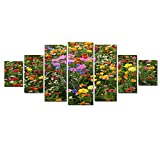 Startonight Huge Canvas Wall Art Flower Field, USA Large Home Decor, Dual View Surprise Artwork Modern Framed Wall Art Set of 7 Panels Total 39.37 x 94.49 inch