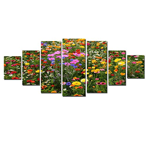 Startonight Huge Canvas Wall Art Flower Field, USA Large Home Decor, Dual View Surprise Artwork Modern Framed Wall Art Set of 7 Panels Total 39.37 x 94.49 inch by Startonight