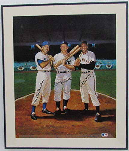 Mickey Mantle, Duke Snider, Willie Mays Signed Lithograph Framed Print 39688 JSA Certified Autographed MLB Art