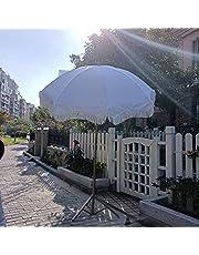 Draagbare Tuinparaplu Strandparasol Tuinparasol 6 'buitenterrasparaplu met Franje Kantelbaar voor Strand, Binnenplaats, Feest, Picknick (Wit)