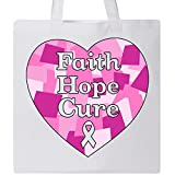 Inktastic - Faith, Hope, Cure- breast cancer awareness Tote Bag White 31577
