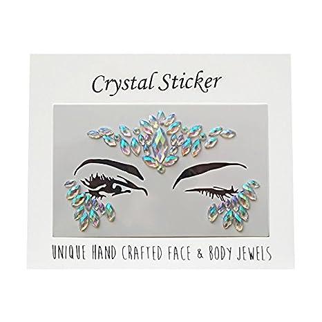Strass Face Jewels Tattoo, glitter festival bellezza trucco capelli chiodo per feste in maschera make up (SET1) BaconiXfF